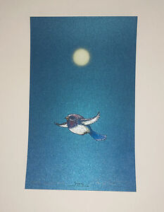 Marq Spusta Art Print Soaring Peacock Blue S/N Silkscreen Only 100! Blue Tail!