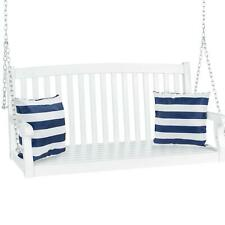 Wooden Porch Swing With Hanging Chains Curved Back Outdoor 3 Seater Bench Multi