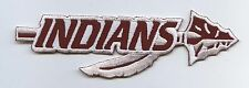 Iron On Applique Embroidered Patch Maroon White INDIANS Arrow Spear