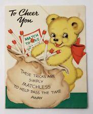Vintage Hallmark Card TO CHEER YOU Match Trix Teddy Bear 1940 Adorable