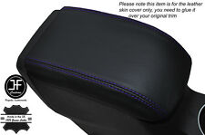 PURPLE STITCHING LEATHER SKIN ARMREST LID COVER FITS FORD FIESTA MK9 2013-2016