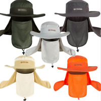 Fishing Hunting Bucket Boonie Cap Unisex Wide Brim Hat Sun Flap Mask Neck Cap