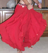 PERFECT RED ENDLESS WAVE HAREM PANTS, BELLY DANCE HEAVY CHIFFON, ELASTIC WAIST,