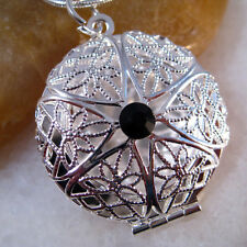 Black Onyx CZ Crystal Silver Flower Round Picture Locket Pendant Necklace