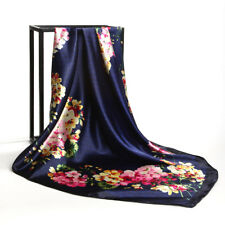 "Fashion Scarf Women's Head Hijab Flower Print Satin Square Shawl Wraps 35""*35"""