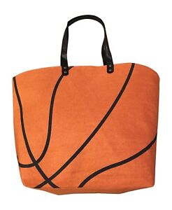 Basketball Canvas Tote Sport Bag Lined, Great Sports Bag