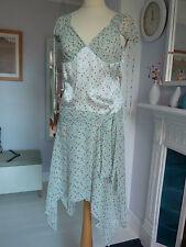 Maje Paris 100% soie/silk mousseline délicate vert pâle ample robe