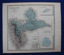 Original antique map GUADELOUPE, CARIBBEAN, Le Vasseur, Fisquet, Pilon, 1878