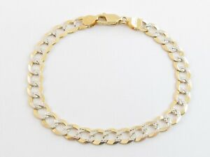 """14K Solid Gold Men's Cuban Curb Link Bracelet 8"""" In Yellow And White"""