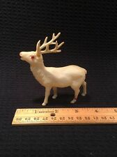 "Euc Vintage 4"" Stag Deer Reindeer Christmas Jewel Eyes Japan White Celluloid?"