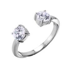 925 STERLING SILVER LADIES DESIGNER OPEN RING RING W/ DIAMOND/ SZ 5 - 9