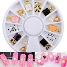 18PCS/Wheel 3 Styles 3D Alloy/Pearl Nail Art Perfume Decoration Chic Jewelry DIY