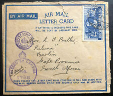 1943 Durban Army PO South Africa Censored Air Letter Cover To Cape Province