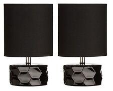 Black Honeycomb Table Lamp Fabric Shade Ceramic Base Set of 2 Side Table Study