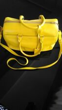 AUTHENTIC YVES SAINT LAURENT  YELLOW LEATHER DUFFLE 6 BAG