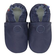 carozoo plain dark blue 2-3y soft sole leather baby shoes