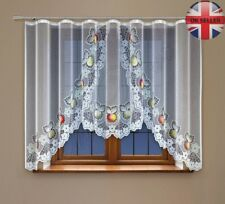 "Jacquard window net curtain with curtain tape WHITE 150 x 450cm (59"" x 177"")"