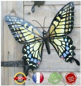 Papillon Grande Décoration Murale pour Jardin Terrasse Balcon Métal Coloré 31x35