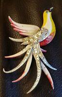 Vintage Bird Enamel & Rhinestone Large 3 1/2 Inch Brooch Pin
