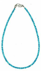 """24""""inch Necklace Natural Neon Apatite Rondelle Faceted 3-4mm Beads Silver Lock"""