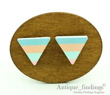 10Pcs 17mm Handmade Triangle Geometric Wood Bead Wood Cabochon HWC208J