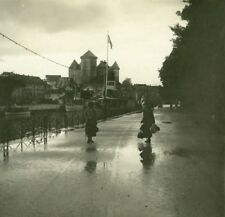 France Haute Savoie Lake Annecy castle old Possemiers Stereo Photo 1920