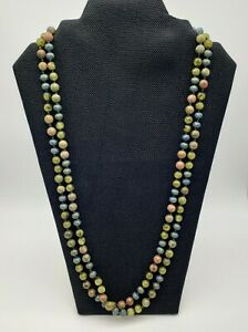 Long Green Flapper Length Beaded Necklace Glass Natural Stone Continuous Strand