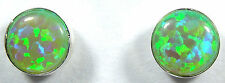 5mm Round Green Fire Opal 925 Sterling silver stud post earrings - Made in USA