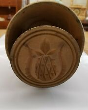 Antique Primitive Wood Carved Pineapple Butter Stamp Mold Press Plunger Style
