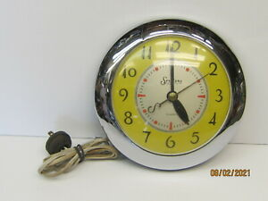 """MID CENTURY 1950'S SESSIONS """"ELEGANCE"""" KITCHEN WALL CLOCK, YELLOW-CHROME WORKS"""