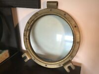Antique vintage Pringle solid Brass double glazed Ships Porthole huge 15 inch