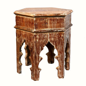 Reclaimed Moroccan style Distressed Side table   Accent Table   End Table