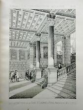 reconstruction interieur Gare Saint Lazare  Paris 1887 vintage print / gravure