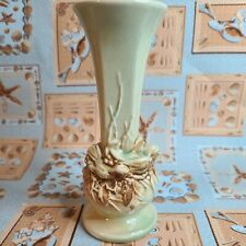 """VINTAGE McCOY POTTERY GREEN AND BROWN VASE WITH BIRD 7.25"""""""