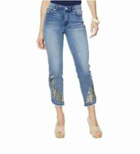NWT DG2 By Diane Gilman Sequin Embroidery Curved Raw Hem Jeans Sz 12