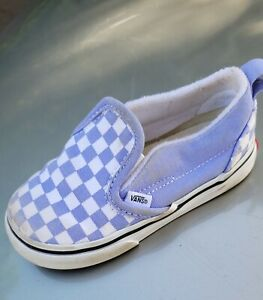 Toddler Vans Low Classic Slip On Checkered lilac White Sneakers Size Toddler 7