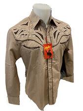Men RODEO WESTERN BEIGE BLACK STITCH Long Sleeve Woven SNAP UP Shirt Cowboy 533