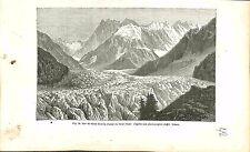 La Mer de Glace Alpes Mont Blanc Haute-Savoie France GRAVURE ANTIQUE PRINT 1874