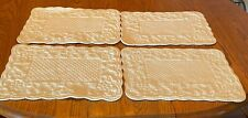 """Set Of 4 Quilted Ivory Placemats, Scalloped Edges, Two Sided 17"""" X 12"""""""