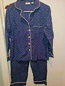 LL Bean Women's Polka dot Pajama Set Size S Petite Blue Polka Dot flannel NEW