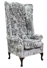 Chesterfield Soho Queen Anne High Back Fireside Wing Chair Lustro Argent Velvet