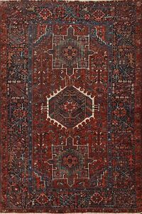 Antique Tribal Geometric Gharajeh Vegetable Dye Hand-knotted Area Rug 5x7 Carpet