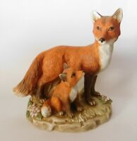 Adorable Momma and Baby Fox Bisque Figurine
