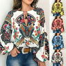 Long Boho Floral V-Neck Women S-5XL T Shirt Sleeve Blouse Lantern Tops Oversize
