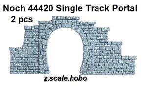 Noch Z Scale 44420 Two Stone Tunnel Portals Single Track *NEW USA Dealer