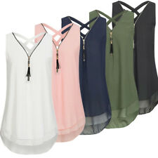 Women V neck Casual Sleeveless Shirt Chiffon Loose Vest Top Tank Blouses NG