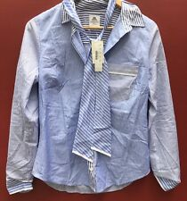 J Crew Thomas Mason Shirt NEW 6 Women's Blouse Blue Striped Bow Shirt NWT