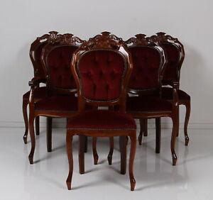 6 er Satz Barock Stilmöbel gepolstert bordeaux Stühle davon 2 m Armlehne BJ 2008