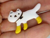Cat brooch white enamel yellow socks dressed kitty kitten vintage style pin