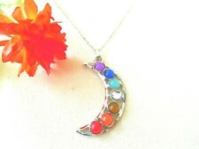 NEW Necklace & Chakra Moon Silver Tone Jewelry US Seller Stock Yoga Good Luck